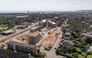 Dronefoto af byggeplads